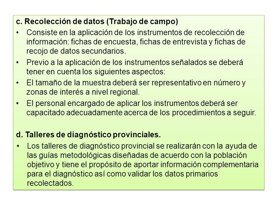 c. Recolección de datos (Trabajo de campo)