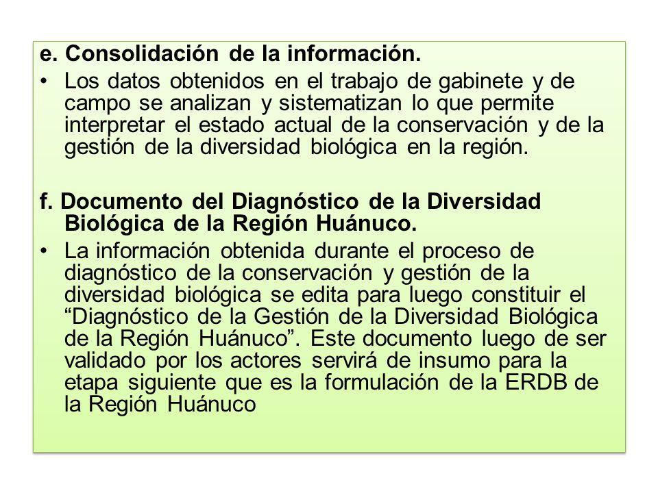 e. Consolidación de la información.
