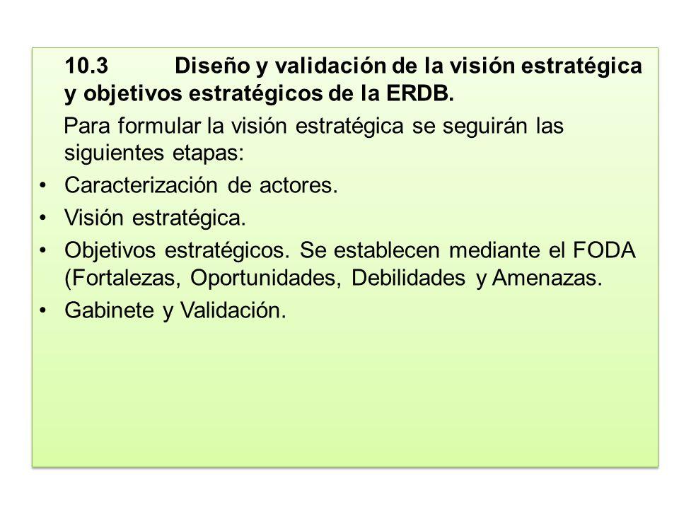 10.3 Diseño y validación de la visión estratégica y objetivos estratégicos de la ERDB.