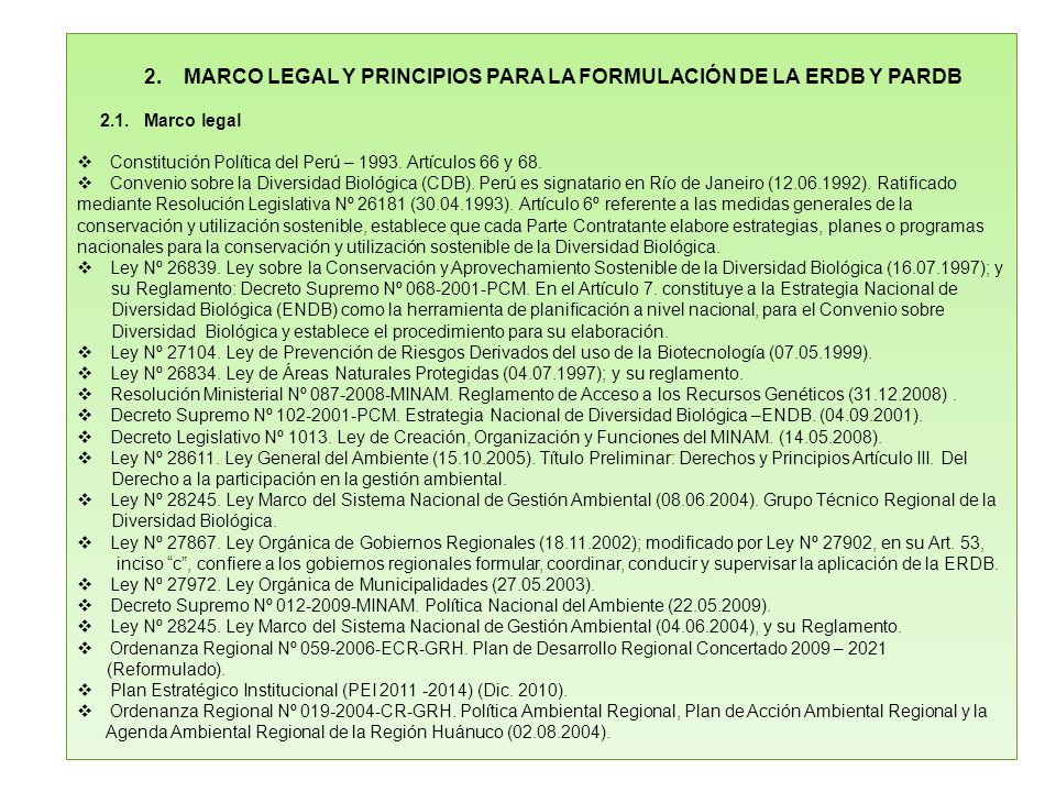 2. MARCO LEGAL Y PRINCIPIOS PARA LA FORMULACIÓN DE LA ERDB Y PARDB