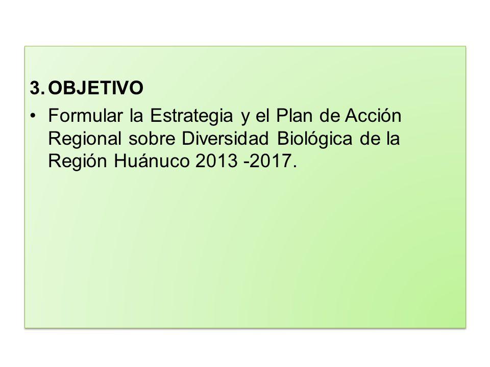 3. OBJETIVO Formular la Estrategia y el Plan de Acción Regional sobre Diversidad Biológica de la Región Huánuco 2013 -2017.