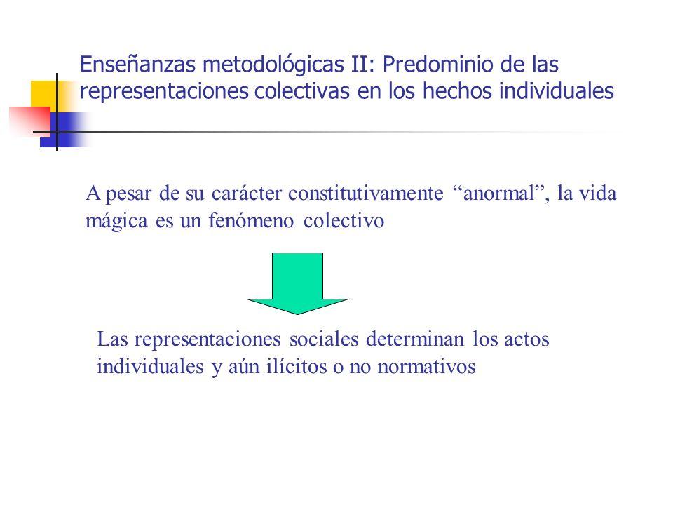 Enseñanzas metodológicas II: Predominio de las representaciones colectivas en los hechos individuales