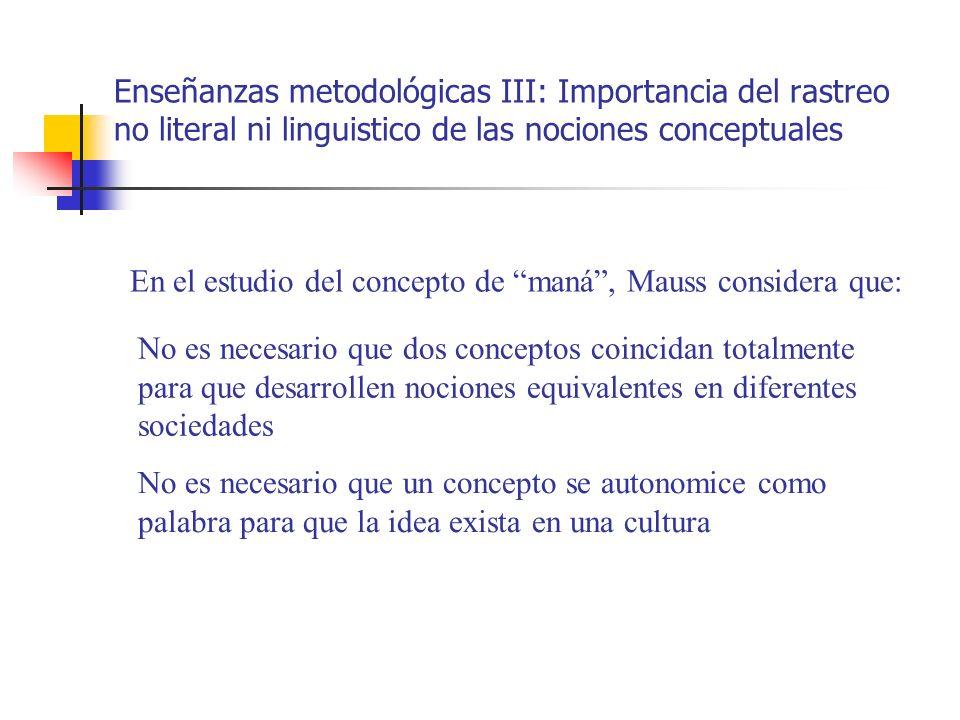 Enseñanzas metodológicas III: Importancia del rastreo no literal ni linguistico de las nociones conceptuales