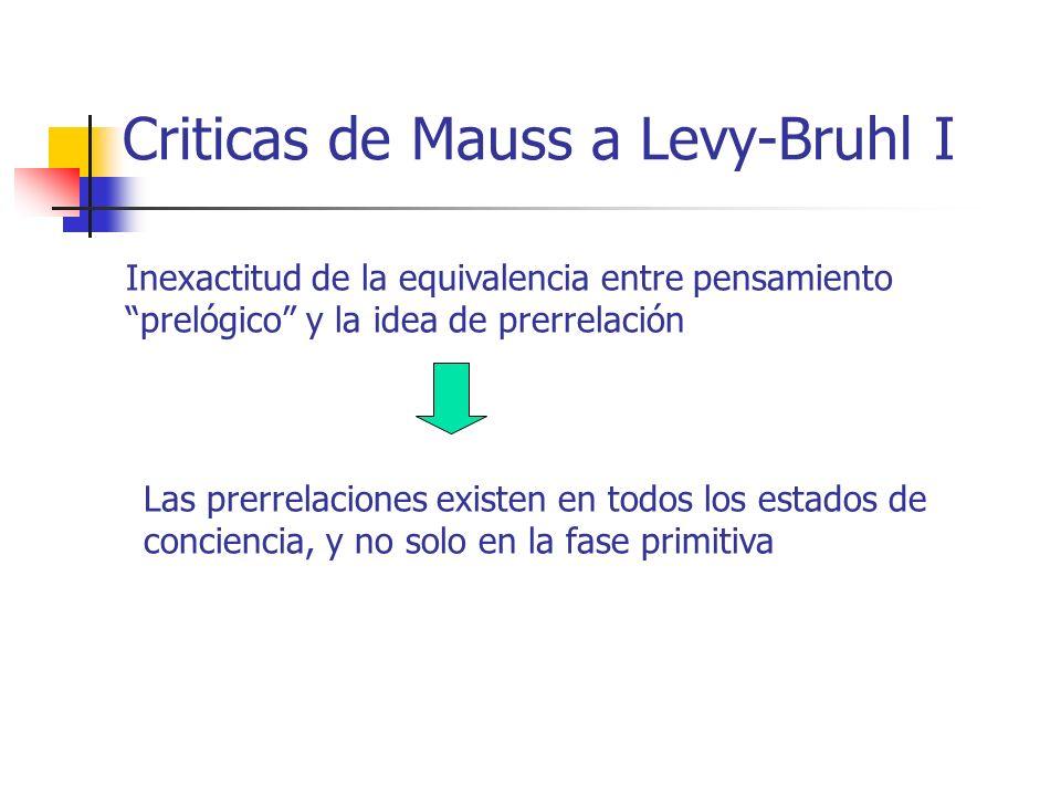 Criticas de Mauss a Levy-Bruhl I