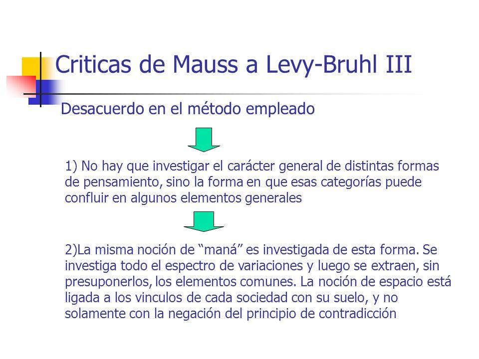 Criticas de Mauss a Levy-Bruhl III