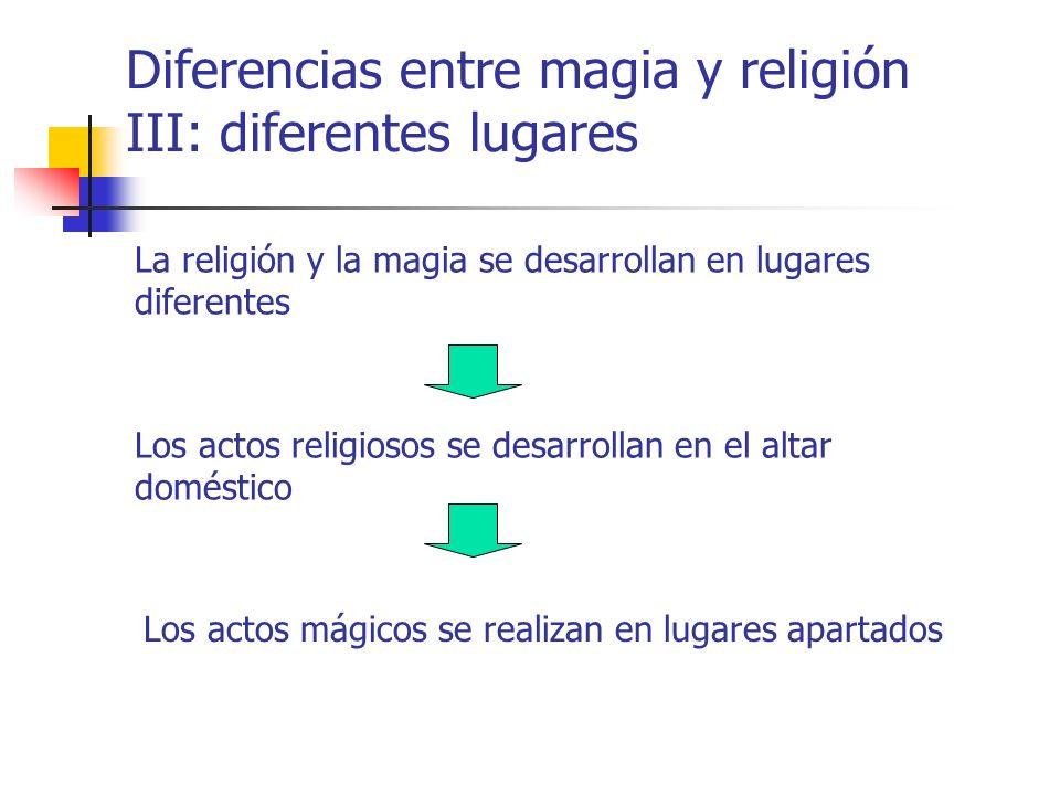 Diferencias entre magia y religión III: diferentes lugares