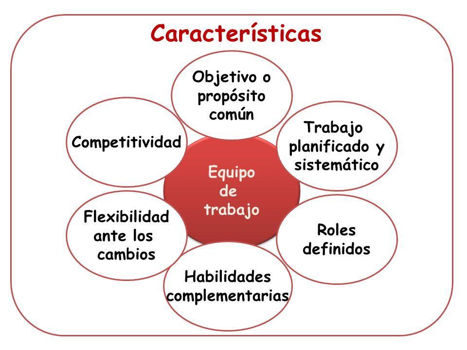 Características Objetivo o propósito común Trabajo Competitividad