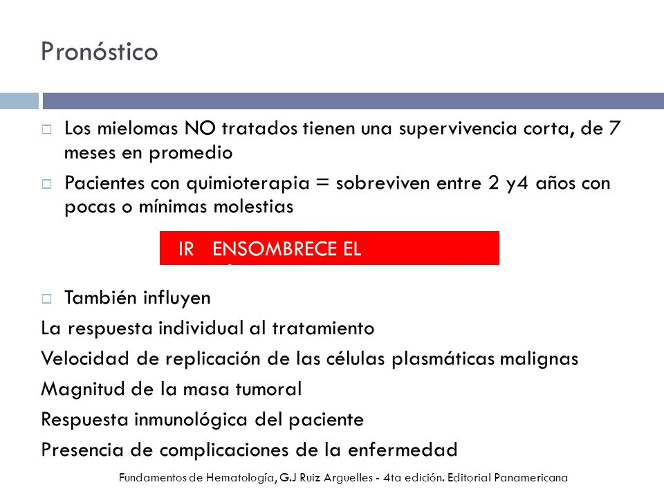 Pronóstico Los mielomas NO tratados tienen una supervivencia corta, de 7 meses en promedio.