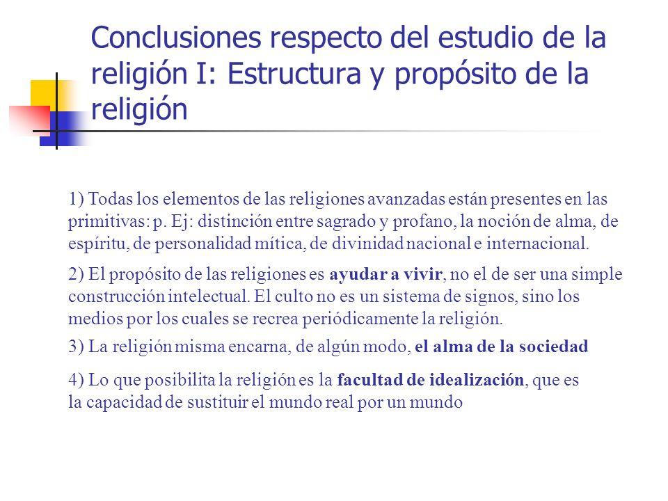 Conclusiones respecto del estudio de la religión I: Estructura y propósito de la religión