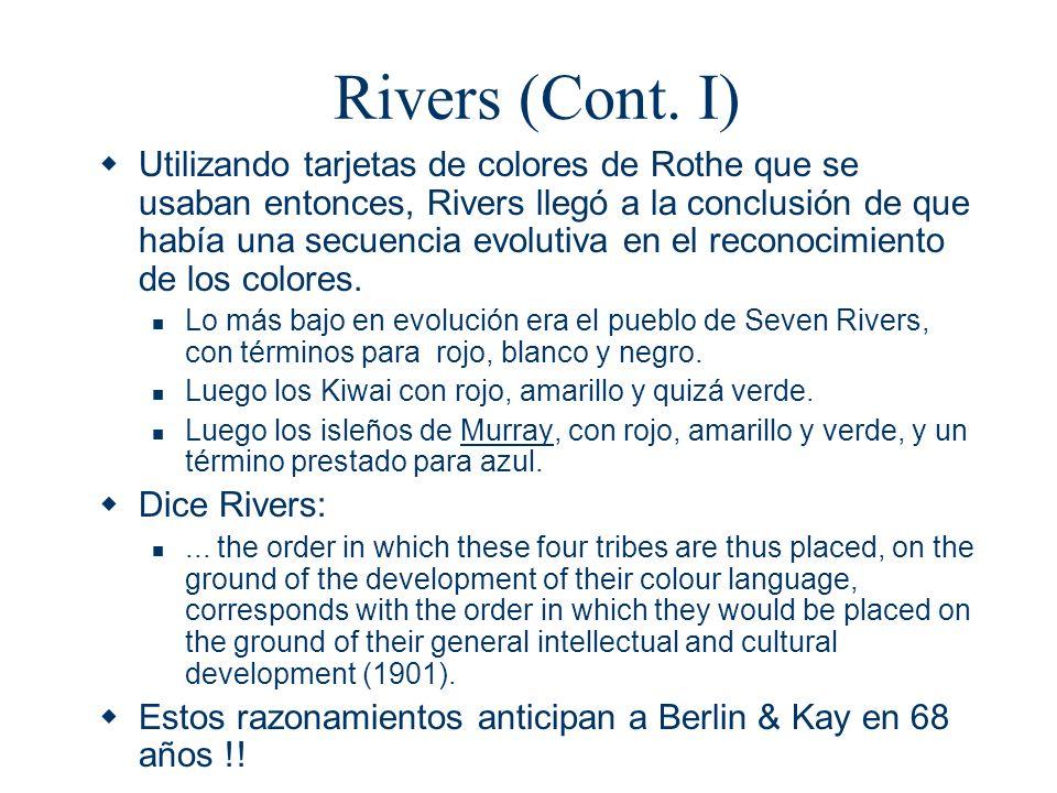 Rivers (Cont. I)