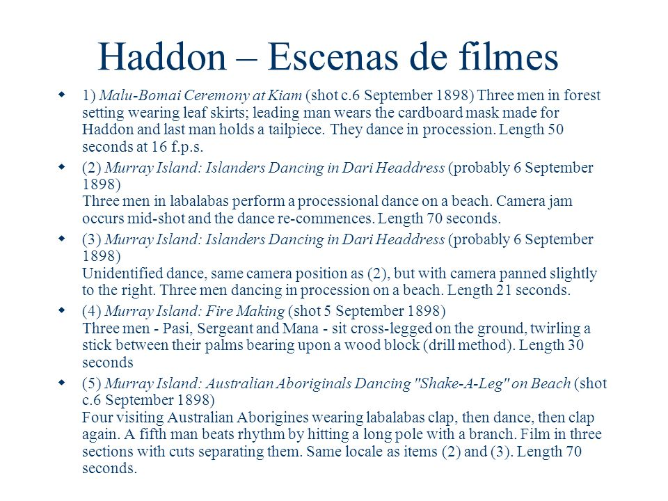 Haddon – Escenas de filmes