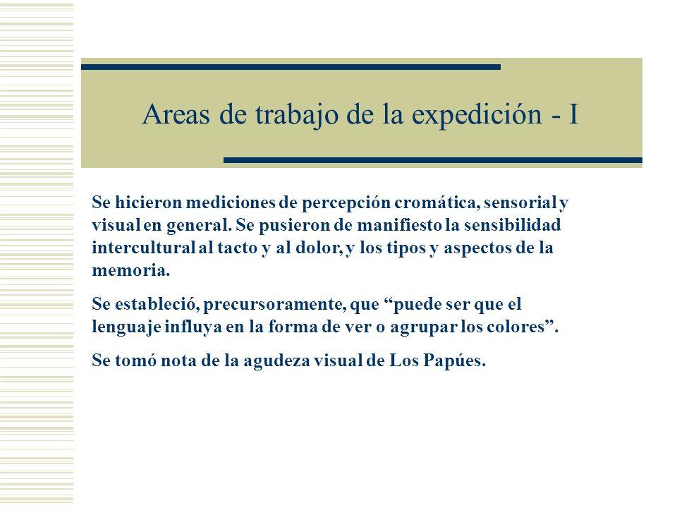 Areas de trabajo de la expedición - I