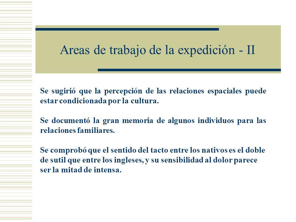 Areas de trabajo de la expedición - II