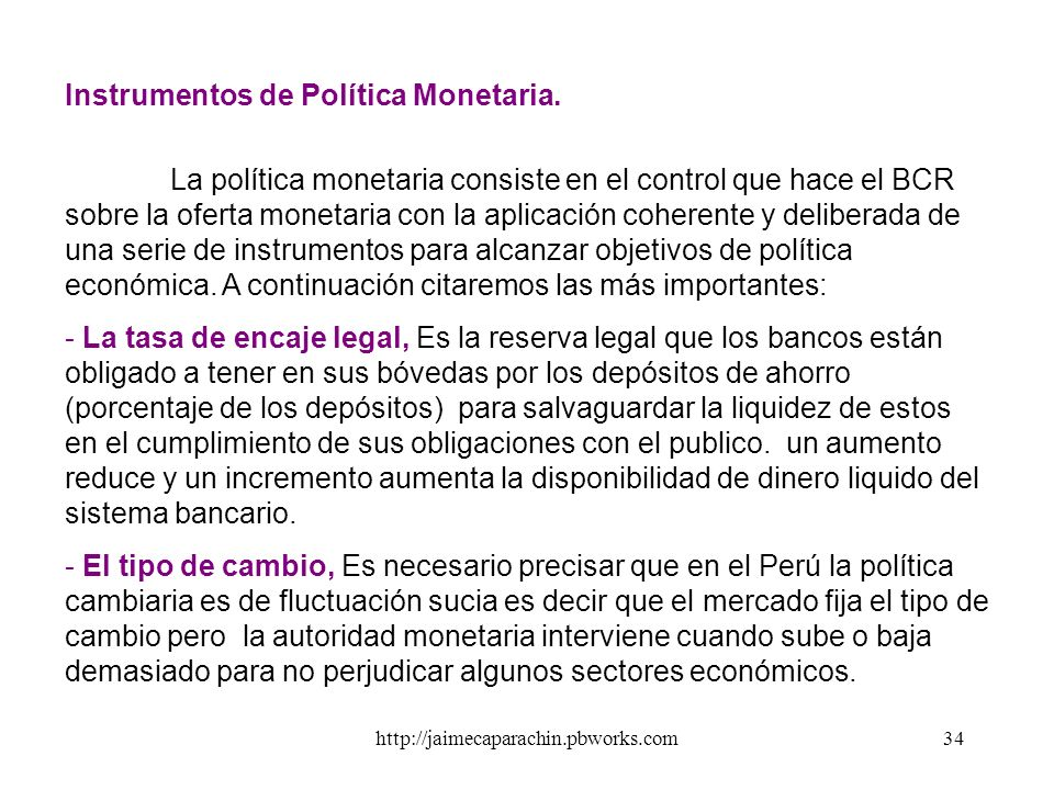 Instrumentos de Política Monetaria.