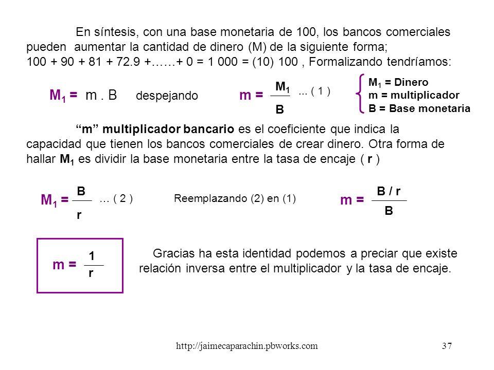 M1 = m . B despejando m = M1 = m = m =