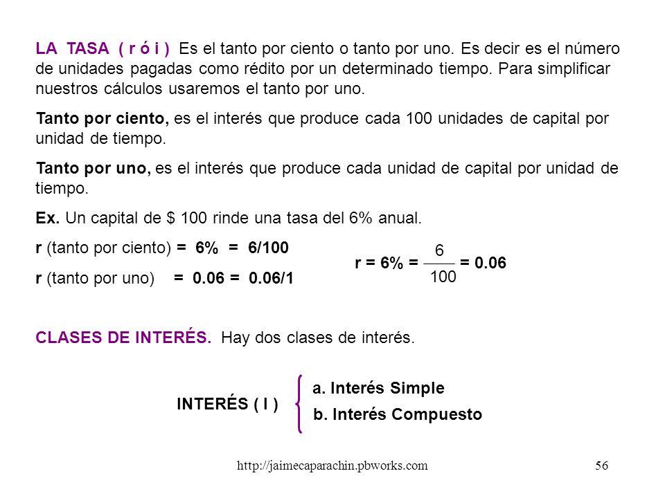 Ex. Un capital de $ 100 rinde una tasa del 6% anual.