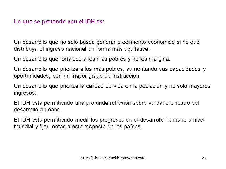 Lo que se pretende con el IDH es: