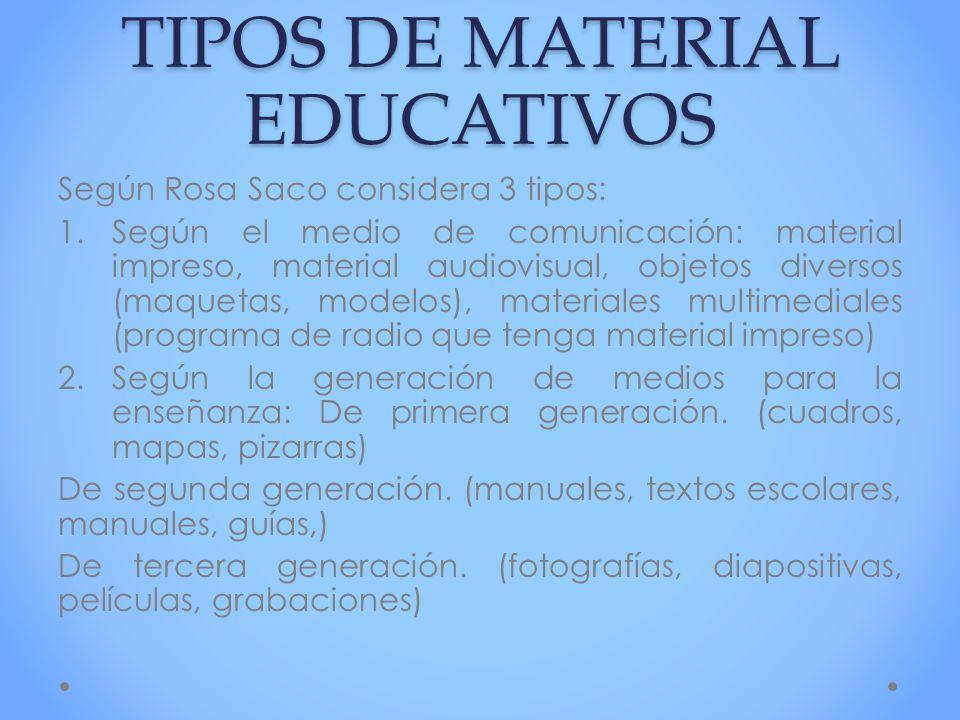 TIPOS DE MATERIAL EDUCATIVOS