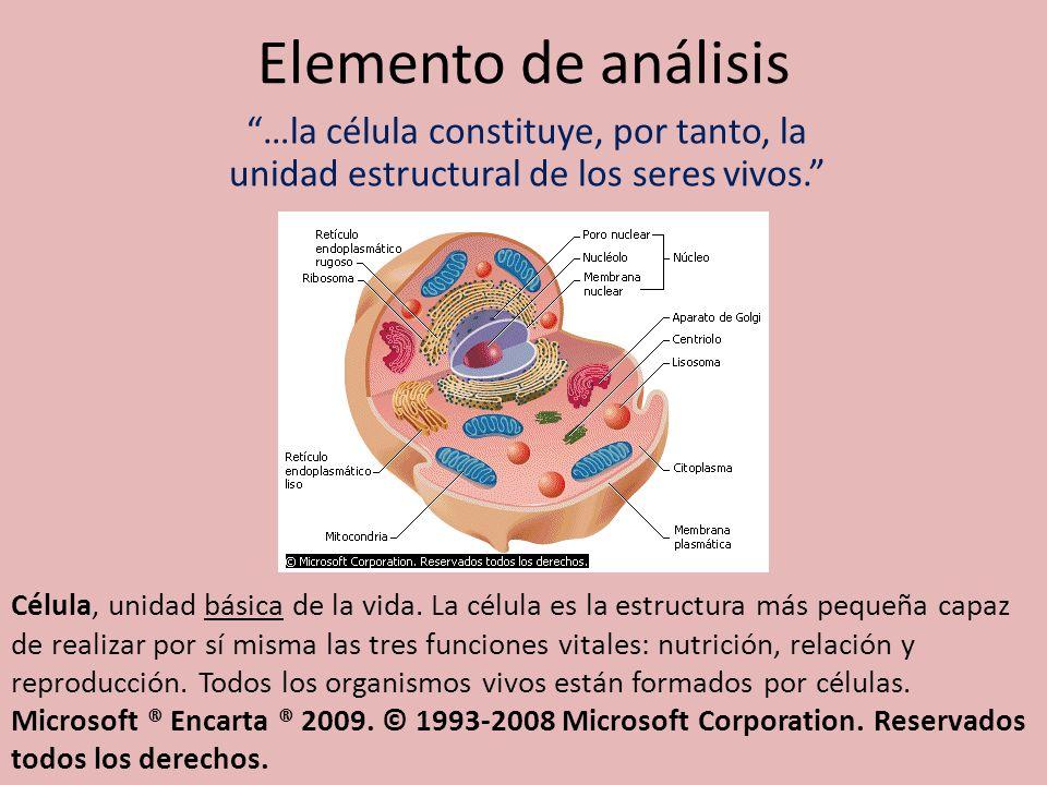 Elemento de análisis …la célula constituye, por tanto, la unidad estructural de los seres vivos.