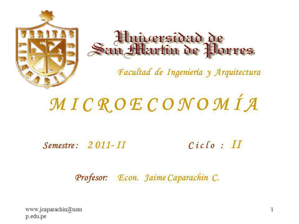 M I C R O E C O N O M Í A Facultad de Ingeniería y Arquitectura