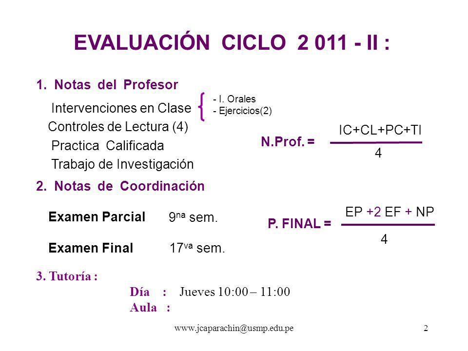 EVALUACIÓN CICLO 2 011 - II : 1. Notas del Profesor