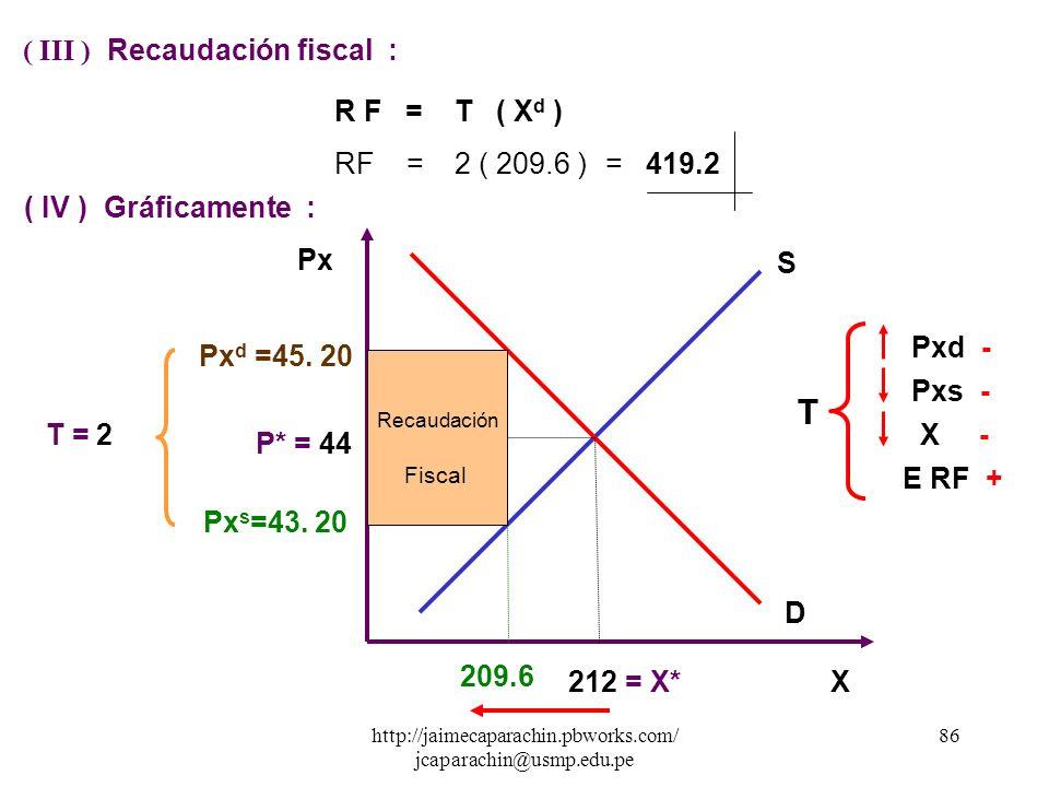 ( III ) Recaudación fiscal :