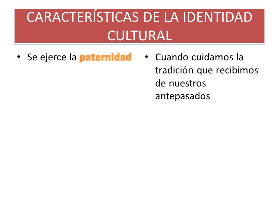 CARACTERÍSTICAS DE LA IDENTIDAD CULTURAL