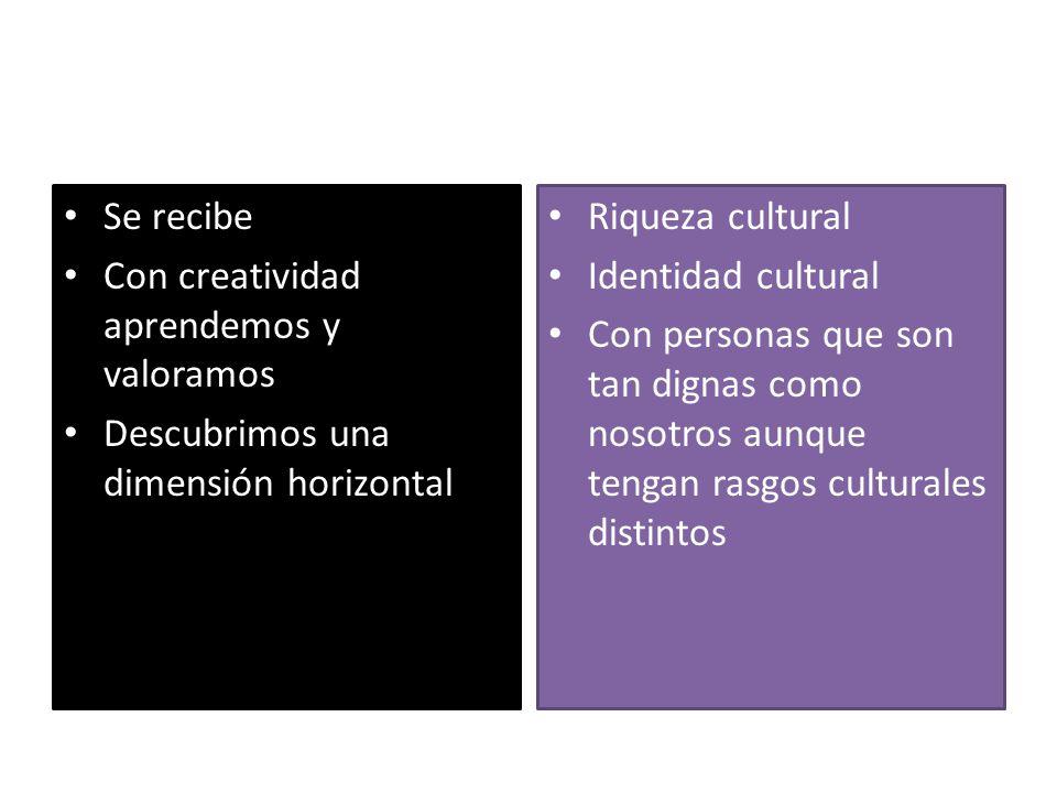 Se recibe Con creatividad aprendemos y valoramos. Descubrimos una dimensión horizontal. Riqueza cultural.