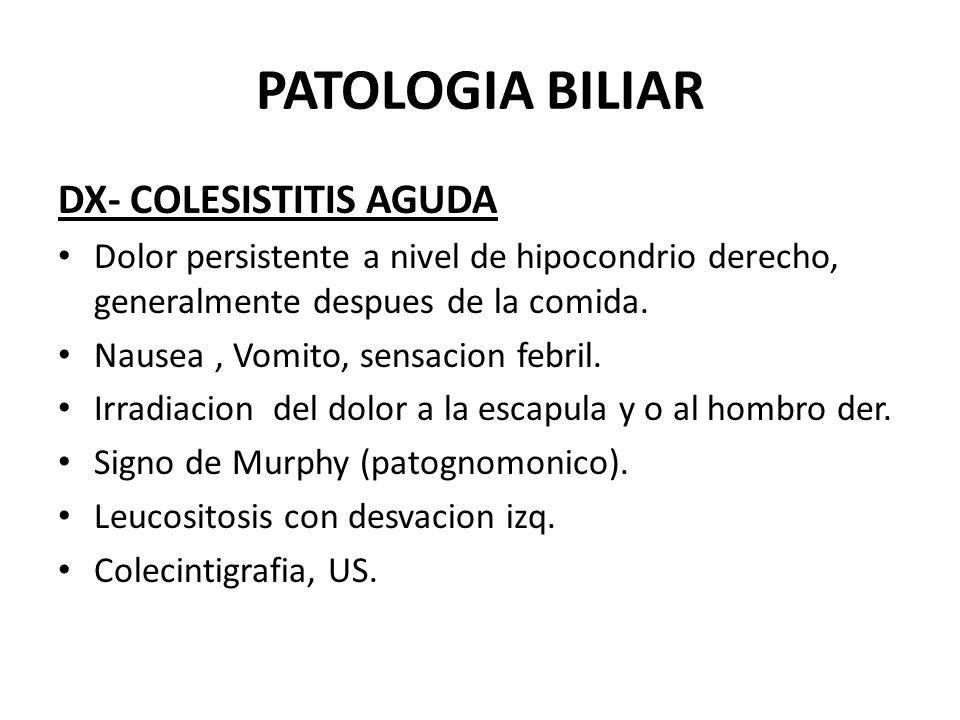 PATOLOGIA BILIAR DX- COLESISTITIS AGUDA