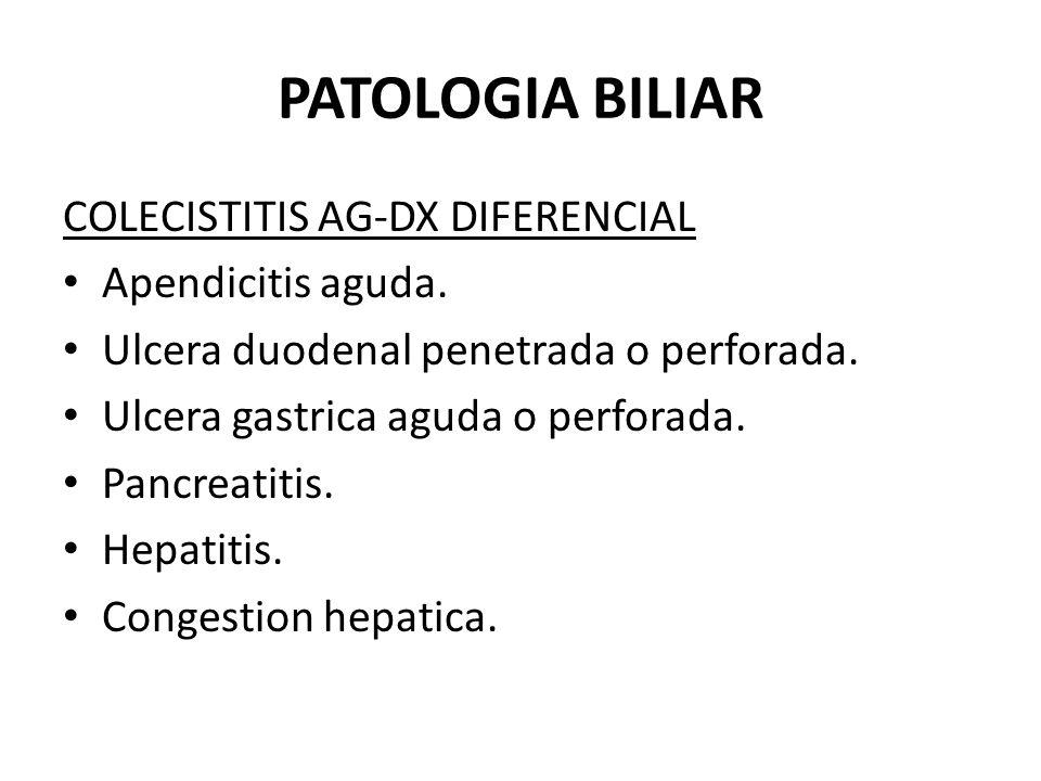PATOLOGIA BILIAR COLECISTITIS AG-DX DIFERENCIAL Apendicitis aguda.