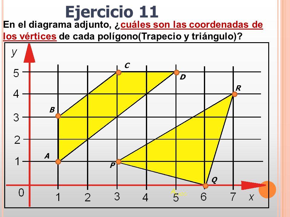 Ejercicio 11 En el diagrama adjunto, ¿cuáles son las coordenadas de los vértices de cada polígono(Trapecio y triángulo)