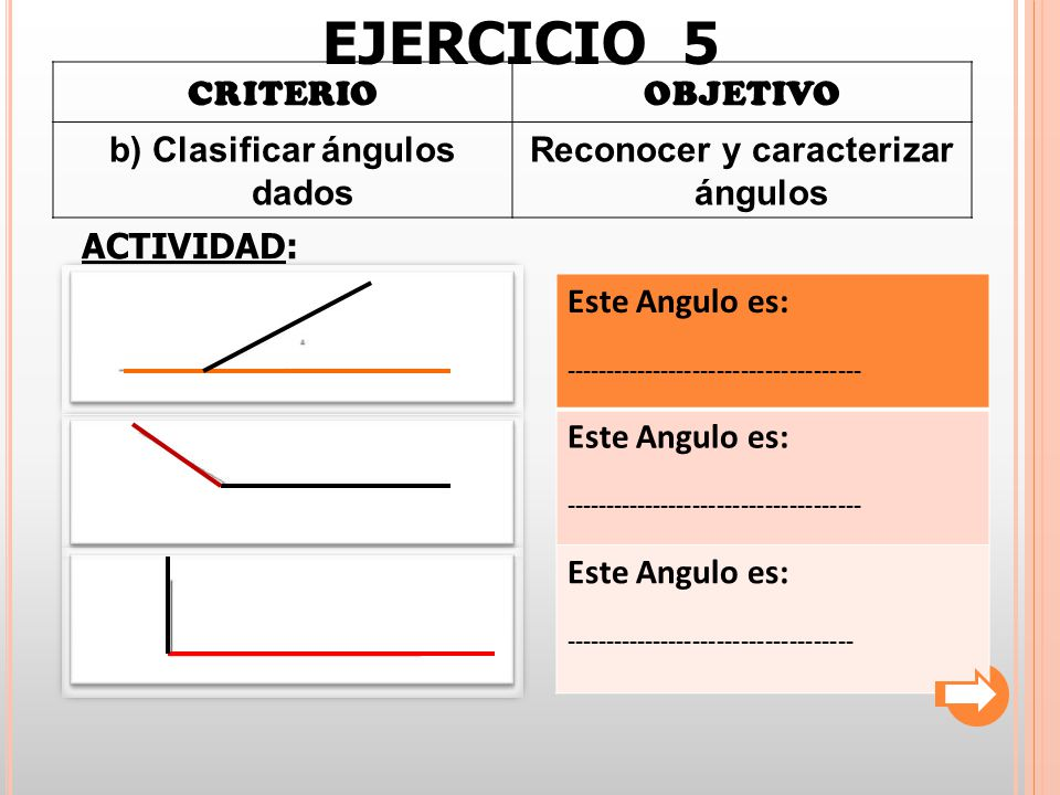 b) Clasificar ángulos dados Reconocer y caracterizar ángulos