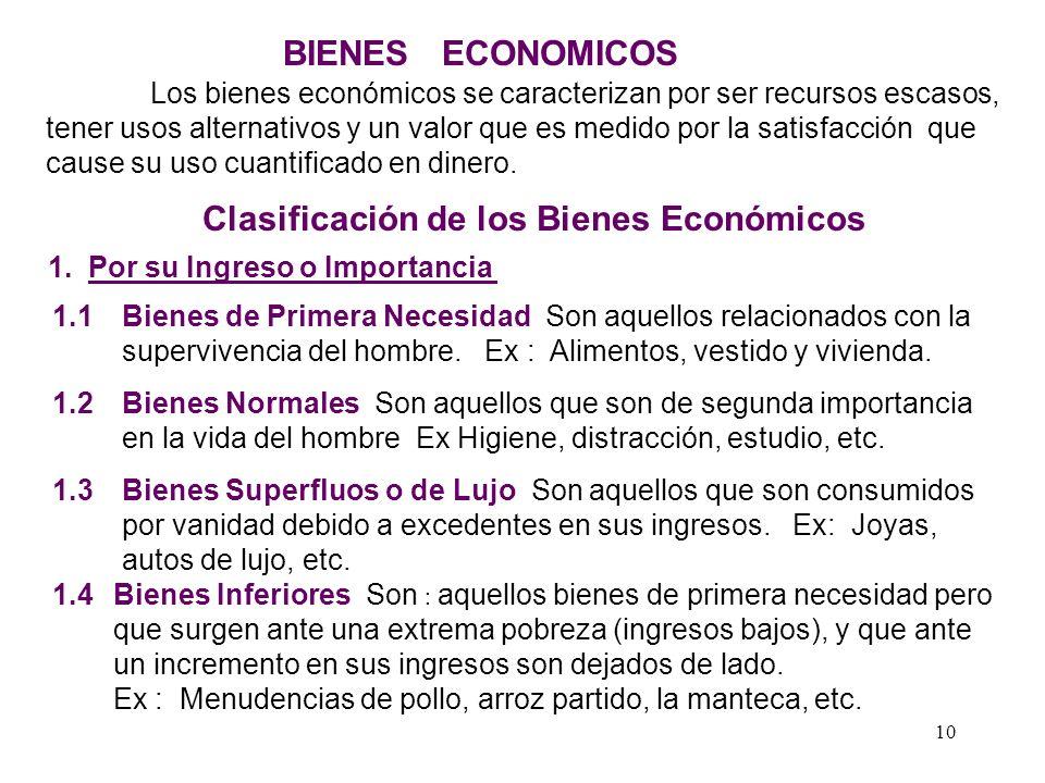 Clasificación de los Bienes Económicos 1. Por su Ingreso o Importancia