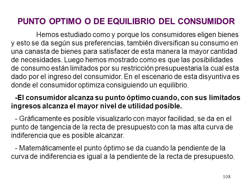 PUNTO OPTIMO O DE EQUILIBRIO DEL CONSUMIDOR