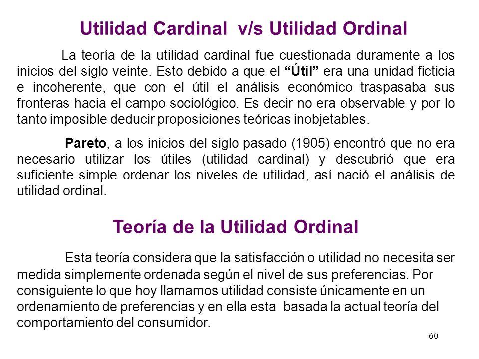 Utilidad Cardinal v/s Utilidad Ordinal Teoría de la Utilidad Ordinal