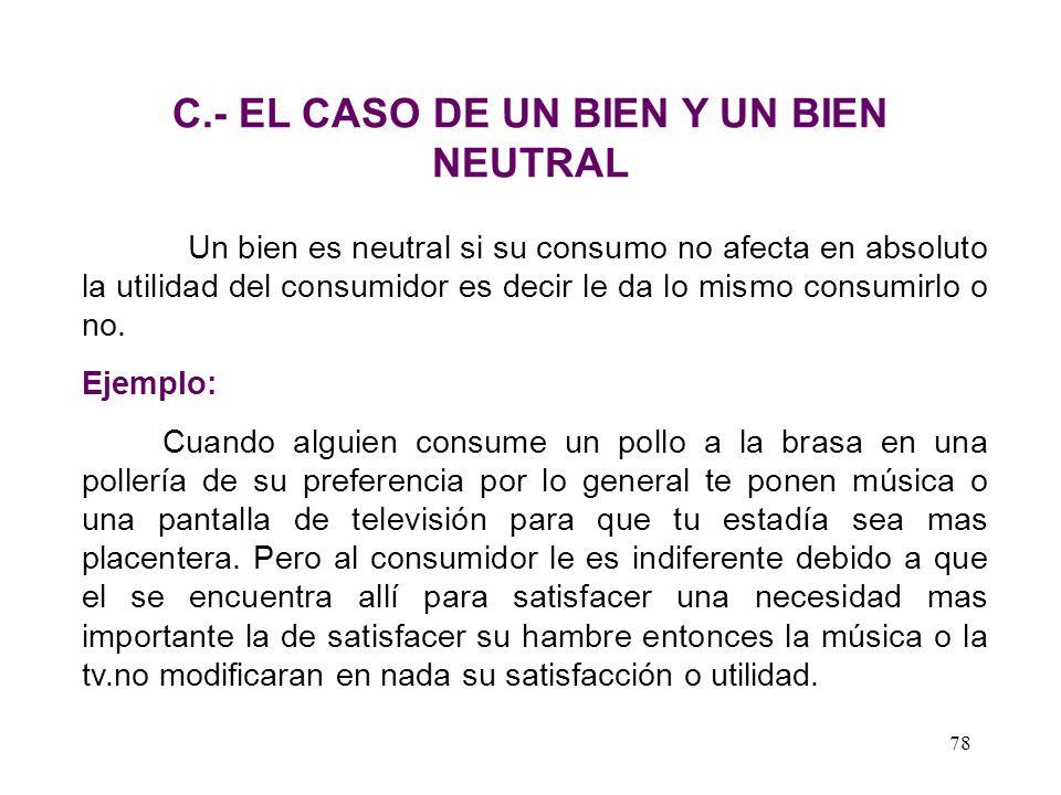 C.- EL CASO DE UN BIEN Y UN BIEN NEUTRAL