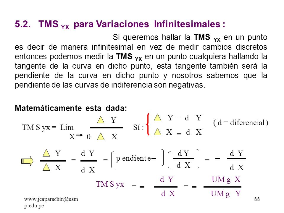 5.2. TMS YX para Variaciones Infinitesimales :