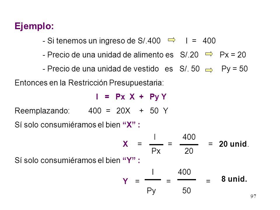 Ejemplo: - Si tenemos un ingreso de S/.400 l = 400