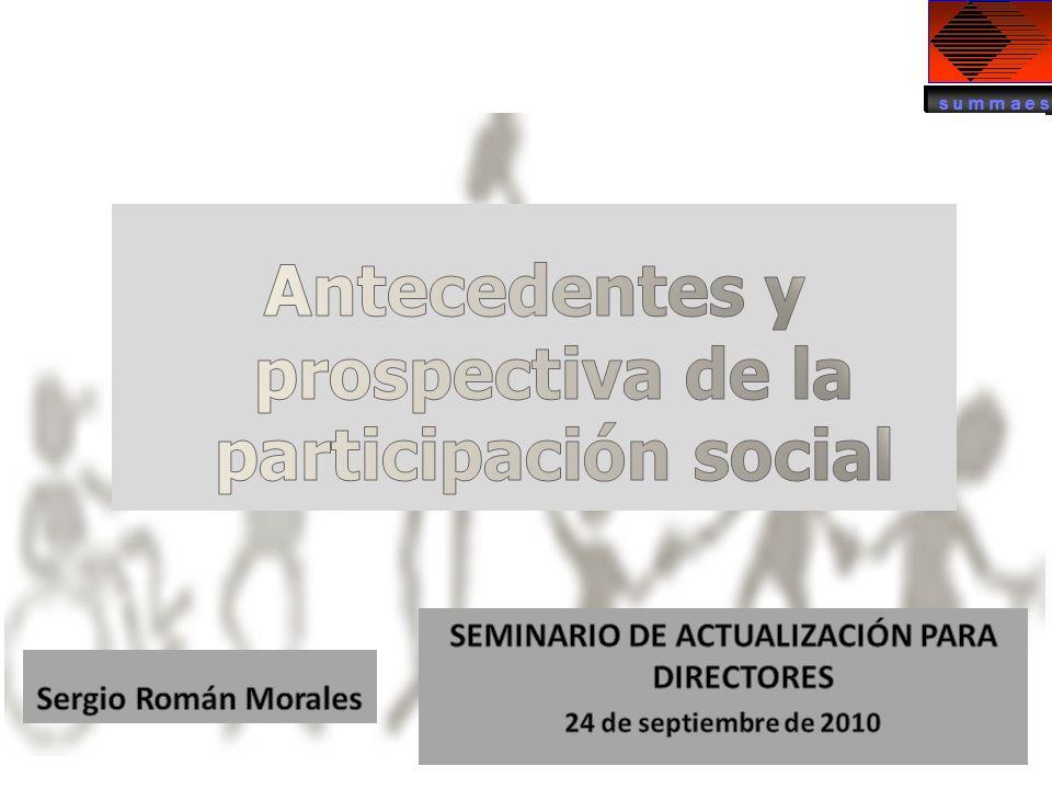 Antecedentes y prospectiva de la participación social