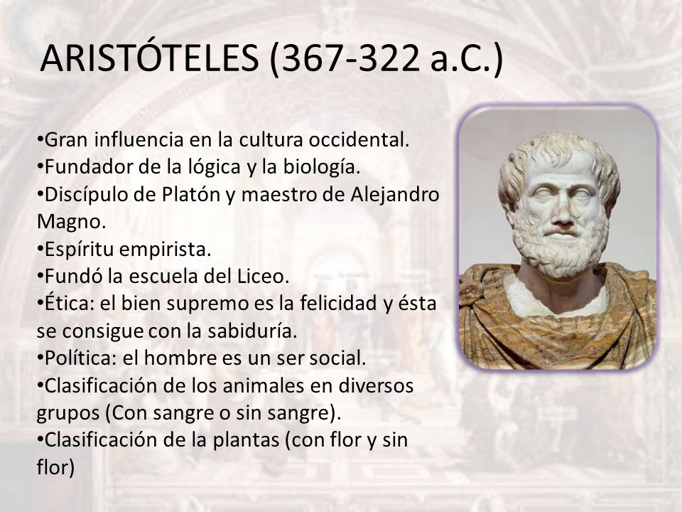 ARISTÓTELES (367-322 a.C.) Gran influencia en la cultura occidental.