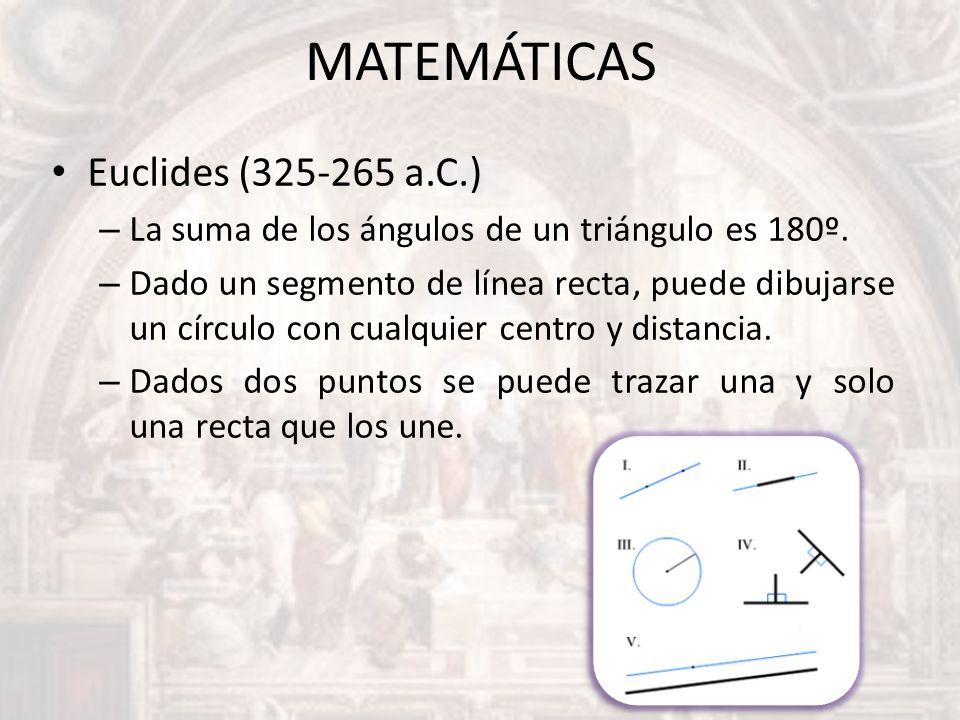 MATEMÁTICAS Euclides (325-265 a.C.)