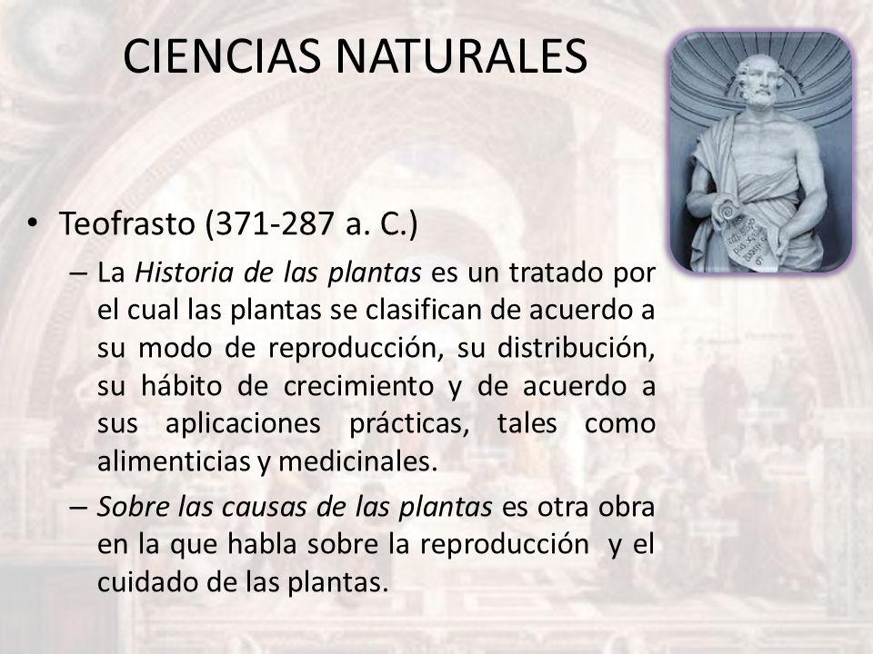 CIENCIAS NATURALES Teofrasto (371-287 a. C.)