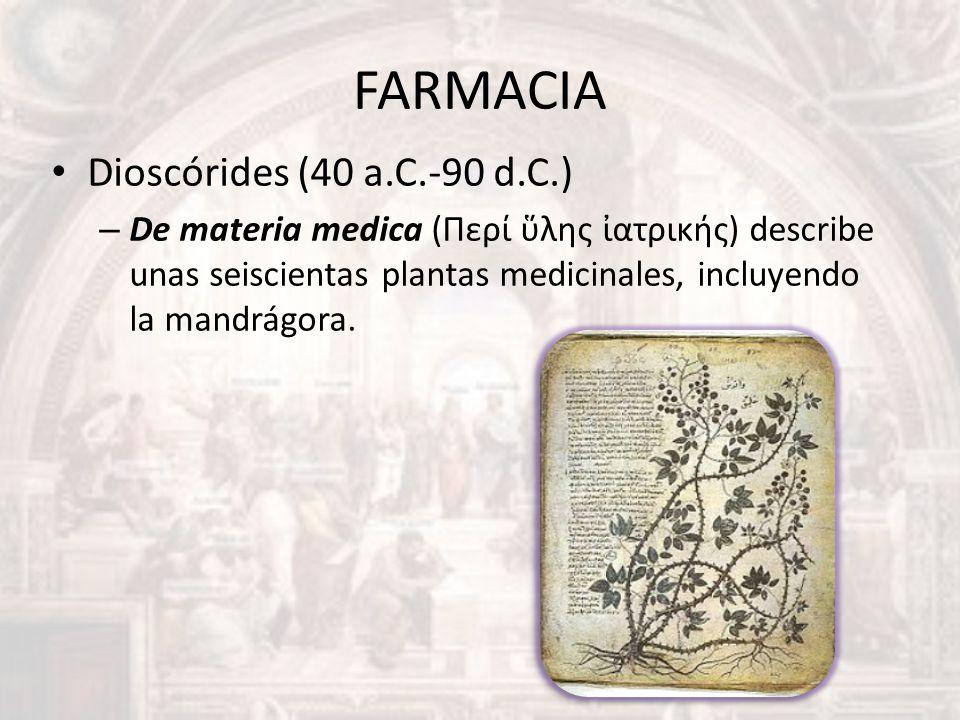 FARMACIA Dioscórides (40 a.C.-90 d.C.)