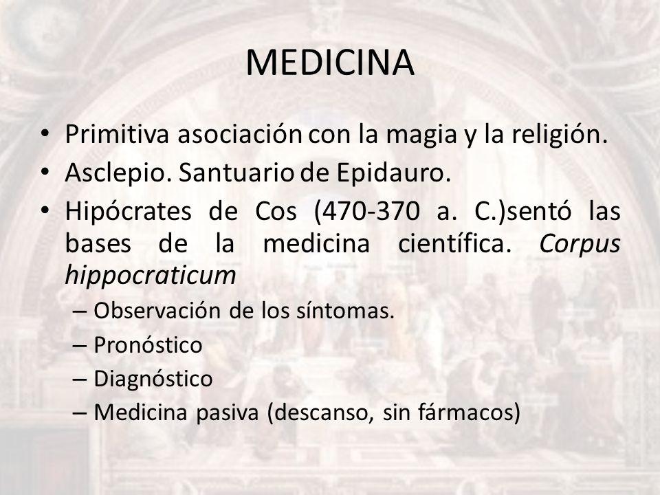 MEDICINA Primitiva asociación con la magia y la religión.