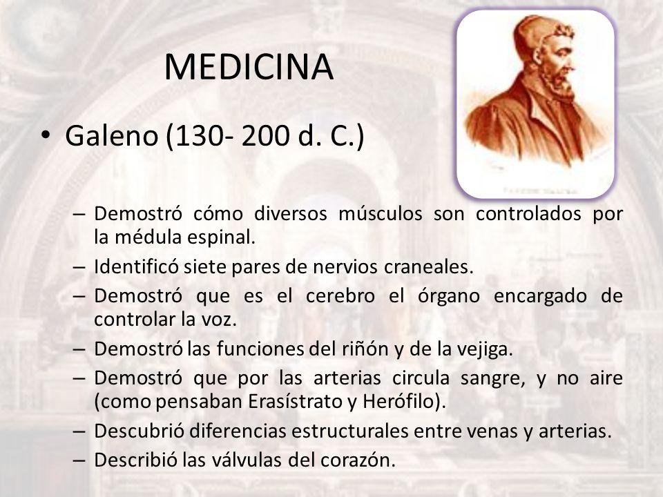 MEDICINA Galeno (130- 200 d. C.) Demostró cómo diversos músculos son controlados por la médula espinal.