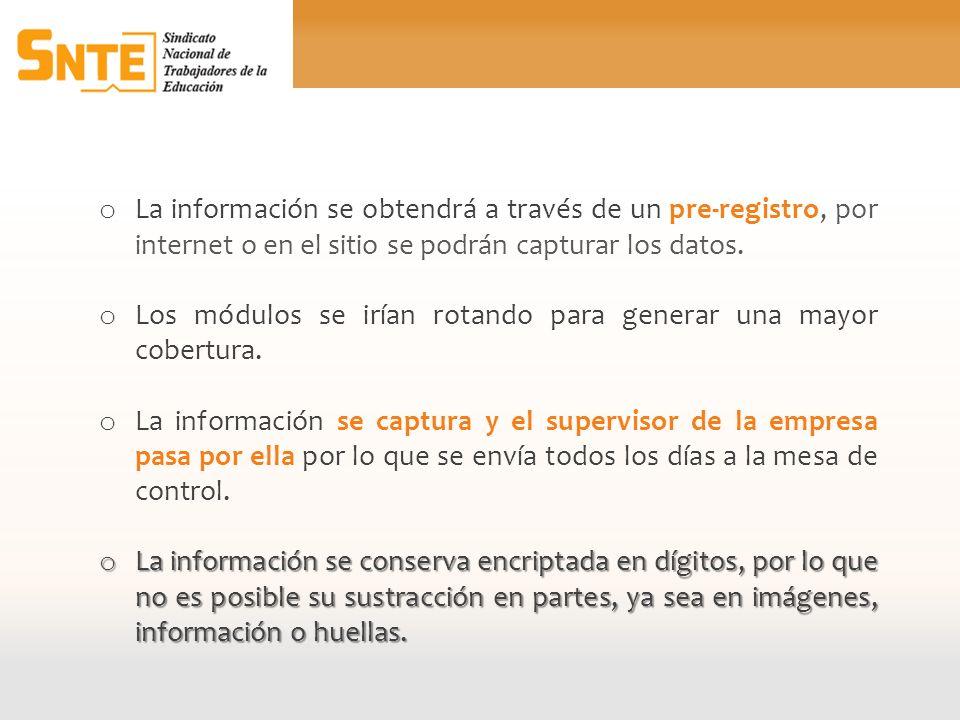 La información se obtendrá a través de un pre-registro, por internet o en el sitio se podrán capturar los datos.