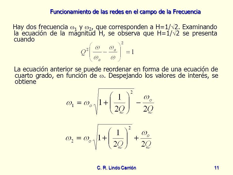 Hay dos frecuencia 1 y 2, que corresponden a H=1/2
