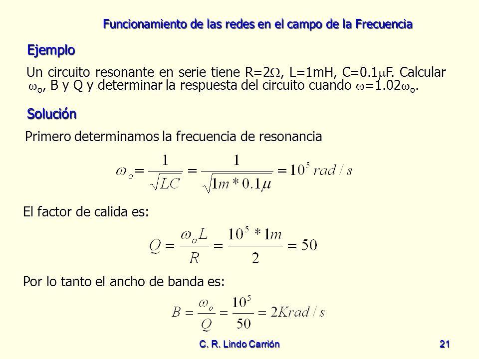 Primero determinamos la frecuencia de resonancia