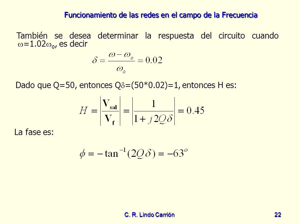 Dado que Q=50, entonces Q=(50*0.02)=1, entonces H es: