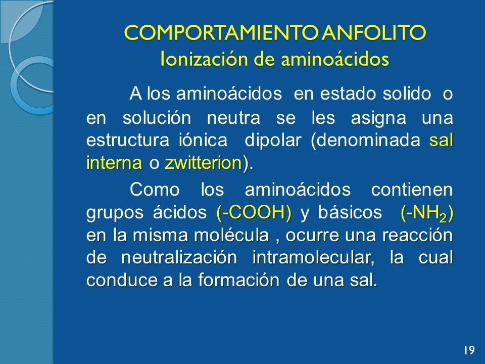 COMPORTAMIENTO ANFOLITO Ionización de aminoácidos